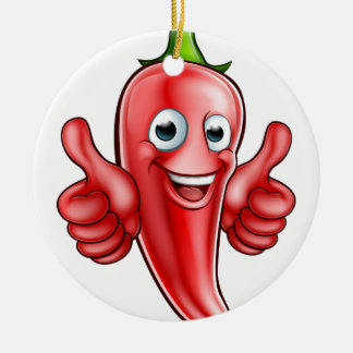 Red Pepper Cartoon Character Round Ceramic Decoration