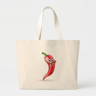 Red Pepper Cartoon Character with Moustache Large Tote Bag