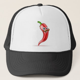Red Pepper Cartoon Character with Moustache Trucker Hat