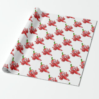 Red Pepper Cartoon Character Wrapping Paper