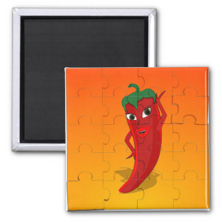 Red Pepper Diva Jigsaw Puzzle Square Magnet