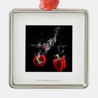 red pepper splashing in water christmas ornament