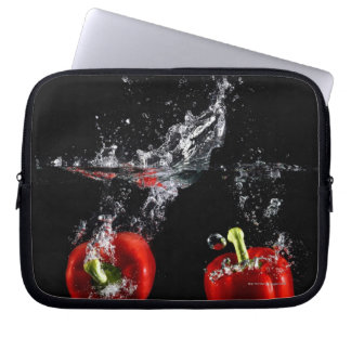 red pepper splashing in water laptop sleeve
