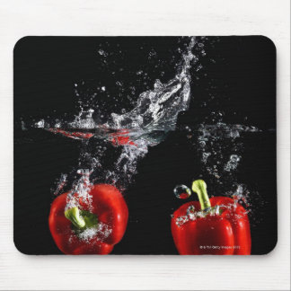 red pepper splashing in water mouse mat