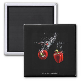 red pepper splashing in water square magnet