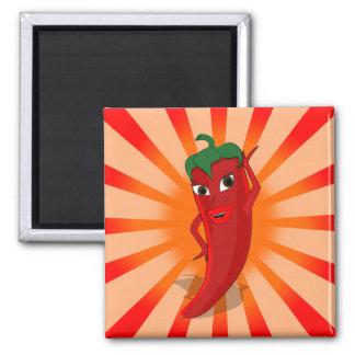 Red Pepper Superstar Square Magnet