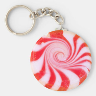 Red peppermint Christmas Mint Key Ring