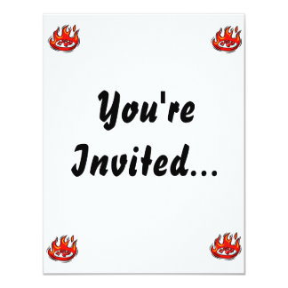 red peppers on plate in fire graphic 11 cm x 14 cm invitation card