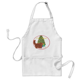 Red Persian Cat Merry Christmas Apron
