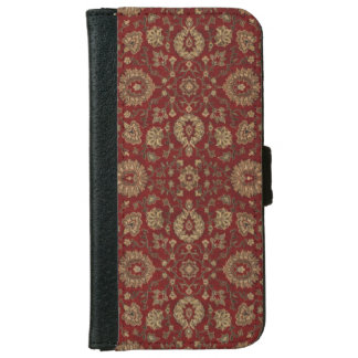 Red Persian scarlet arabesque tapestry iPhone 6 Wallet Case