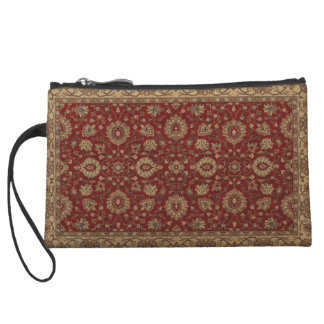 Red Persian scarlet arabesque tapestry Wristlet Clutches