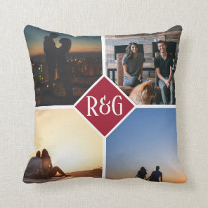 Red Personalised 4 Photo Monogram Cushion