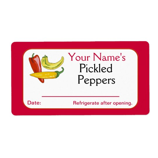 Red Personalised Canning Labels Pickled Peppers