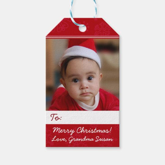 Red Personalised Christmas Holiday Photo Gift Tags