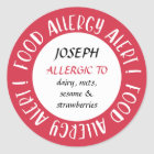 Red Personalised Food Allergy Alert Customised Classic Round Sticker