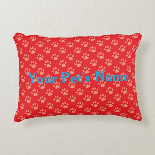 Red Personalised Pet Pillow with Paw Prints