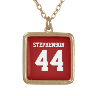 Red Personalized Sports Name Number Pendant