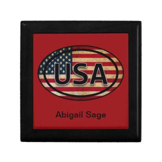 Red Personalized USA Flag Jewelry Gift Box
