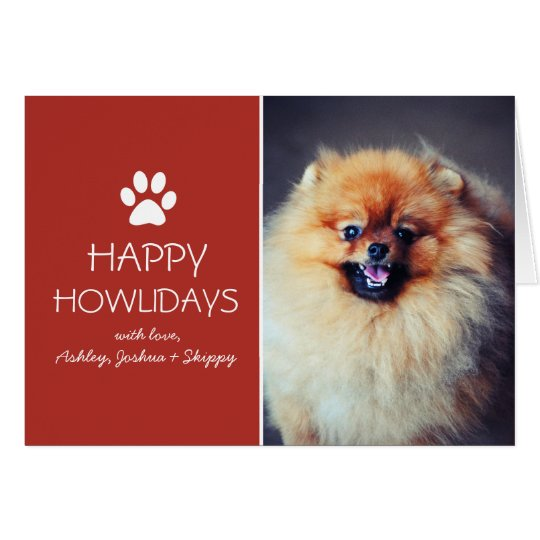 Red Pet Photo Paw Print Holiday Christmas Cards