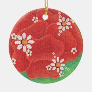 Red Petals Circle Ornament