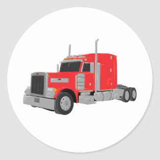 red peter built tractor round sticker