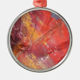 Red Petrified wood detail, Arizona Silver-Colored Round Decoration