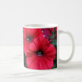 Red petunia flowers coffee mug
