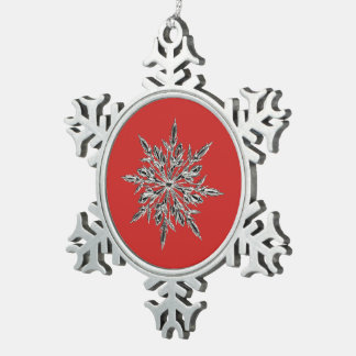 Red & Pewter Snowflake Ornament