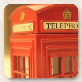 Red Phone Booth Drink Coasters
