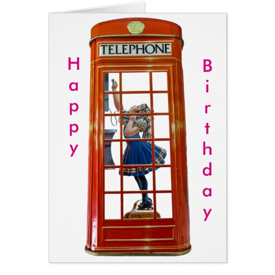 Red Phone-Box for Birthday-greeting-card Card