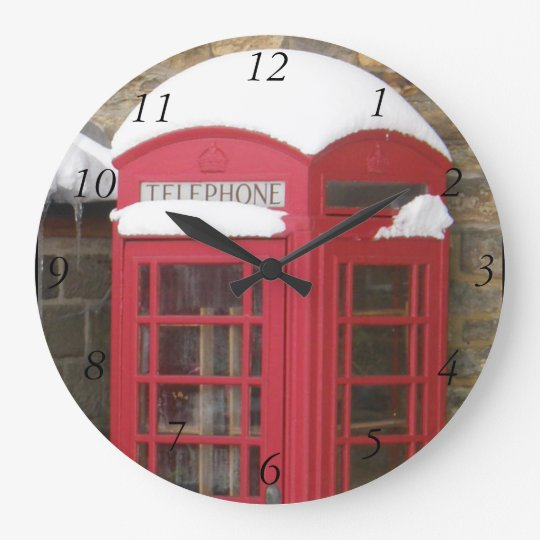 Red phone box wall clock with black hands