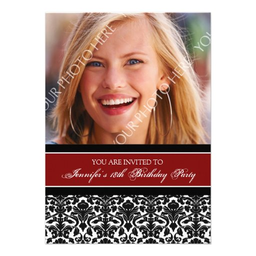 Red Photo 18th Birthday Party Invitations