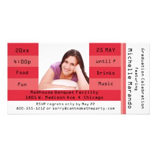 Red Photo Admission Ticket Party Invitation Personalised Photo Card