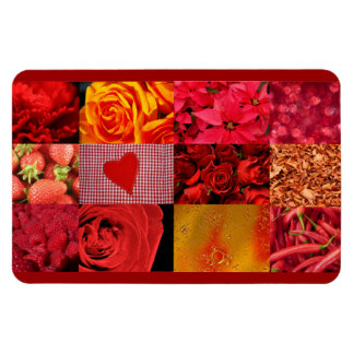 Red Photography Collage Rectangular Magnet