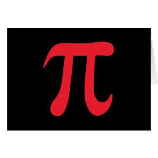 Red pi symbol on black background note card