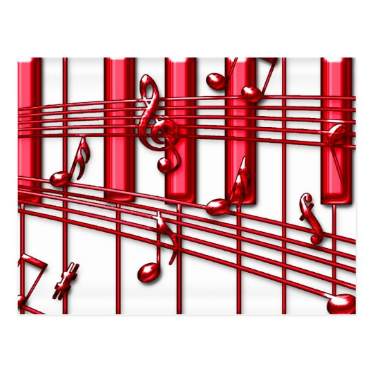 RED PIANO KEYBOARD POSTCARD
