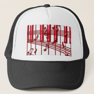 RED PIANO KEYBOARD TRUCKER HAT