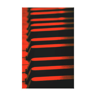 Red Piano Keys Stretched Canvas Print