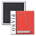 Red Piano Square Magnet