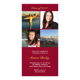 Red picture block graduation announcement invite photo card template
