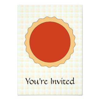 Red Pie. Strawberry Tart. Beige Check. 13 Cm X 18 Cm Invitation Card