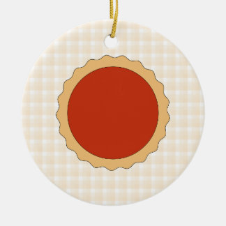 Red Pie. Strawberry Tart. Beige Check. Christmas Ornament
