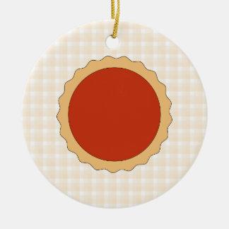 Red Pie. Strawberry Tart. Beige Check. Round Ceramic Decoration