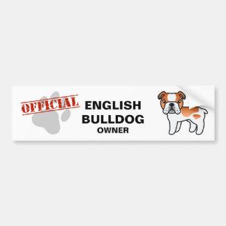 Red Piebald Cartoon English Bulldog Bumper Stickers