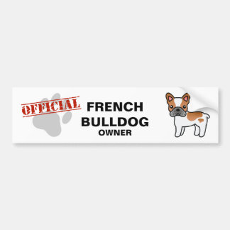 Red Piebald Cartoon French Bulldog Bumper Sticker