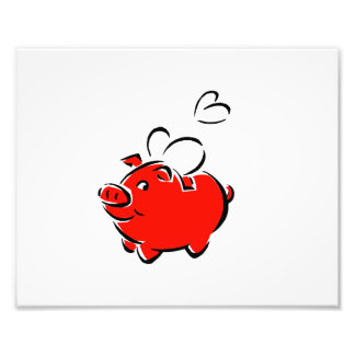Red piggie hearts fly love design photo