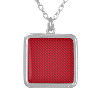 Red Pile Background Silver Plated Necklace