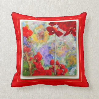 Red Pillow with Red Geraniums by Sharles Pillow