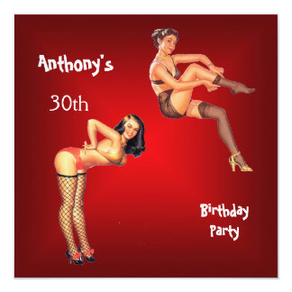 Red Pin-up Girls Birthday Party 13 Cm X 13 Cm Square Invitation Card