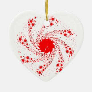 Red Pin Wheel Ceramic Heart Decoration